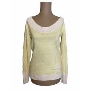Old Navy Yellow & White Knit Sweater with a Pocket